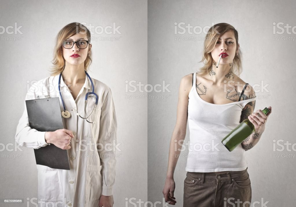 Different faces of a woman stock photo