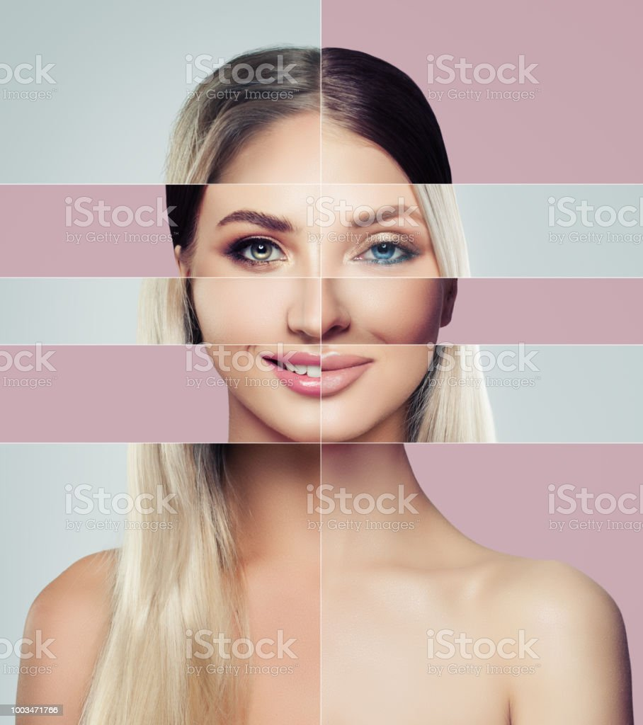 Different faces of young woman. Plastic surgery concept. Blonde and brunette woman, green and blue eyes, collage of two female faces. stock photo