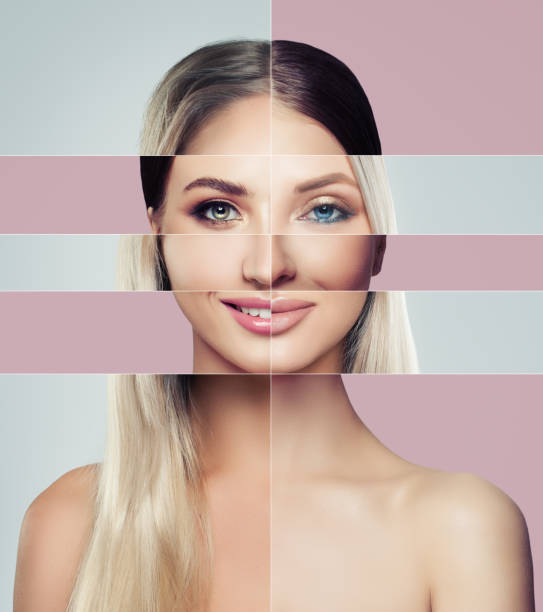 different faces of young woman. plastic surgery concept. blonde and brunette woman, green and blue eyes, collage of two female faces. - muso foto e immagini stock