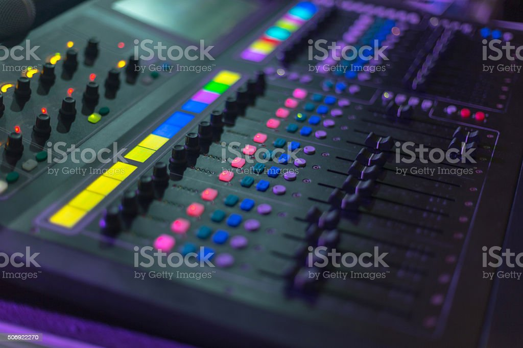 Different fader on music system stock photo