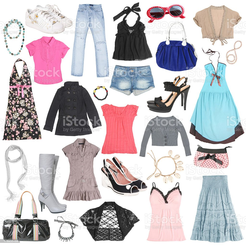 Different female clothes, shoes and accessories. stock photo