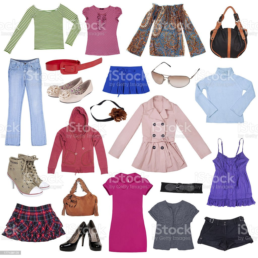 Different female clothes, shoes and accessories stock photo