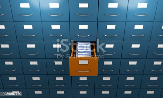 Orange colored filing cabinet between the blue ones. ( 3d render )