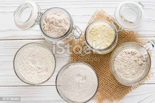 istock Different flour jars, wheat, corn, rye, oats, spelt, flax 973796362