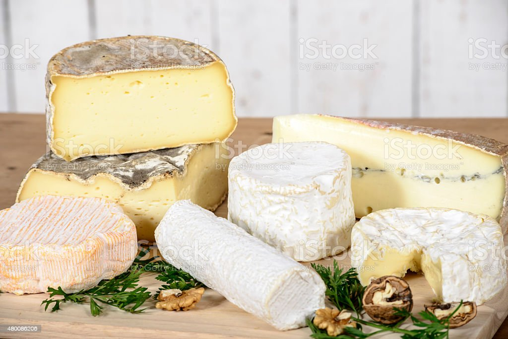 different french cheeses stock photo