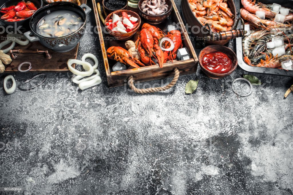 Different fresh seafood. stock photo