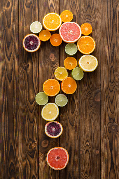 Different fruit in shape of question mark stock photo