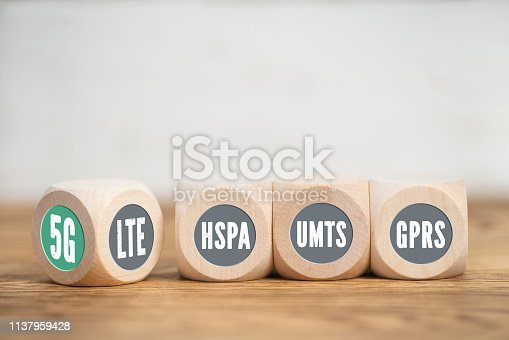 istock different generations of mobile technologies as cubes with LTE turning to 5G 1137959428