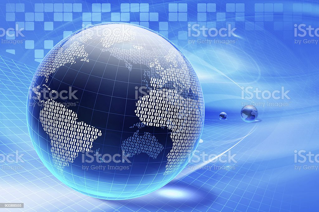 Different globes with blue background royalty-free stock photo