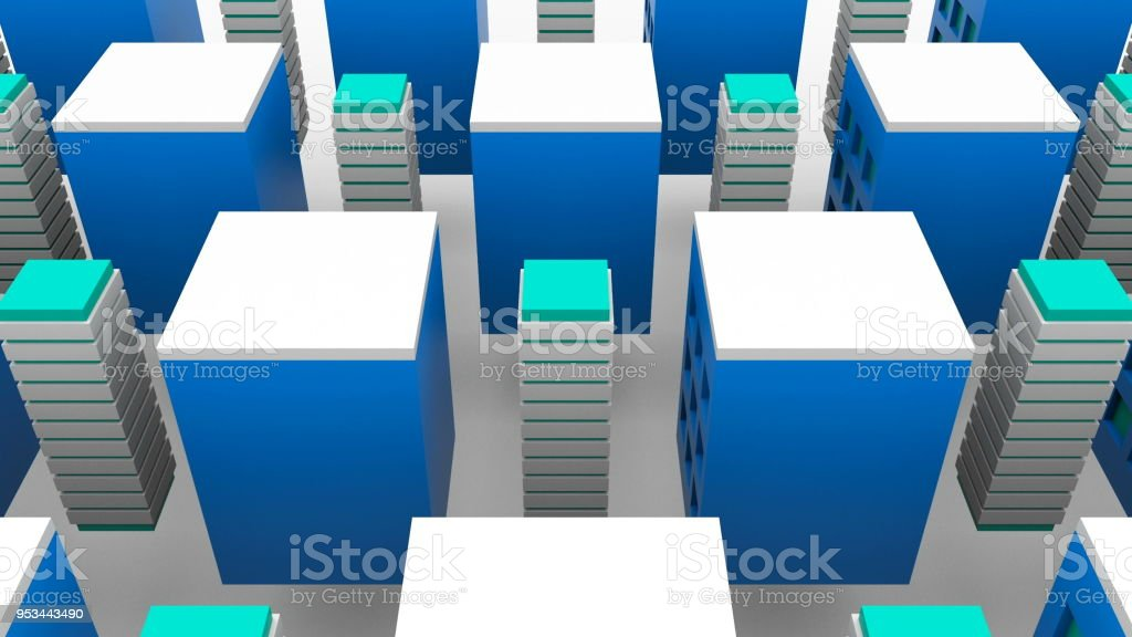 Different growing tall buildings in modern city, 3d rendering background, computer generating stock photo
