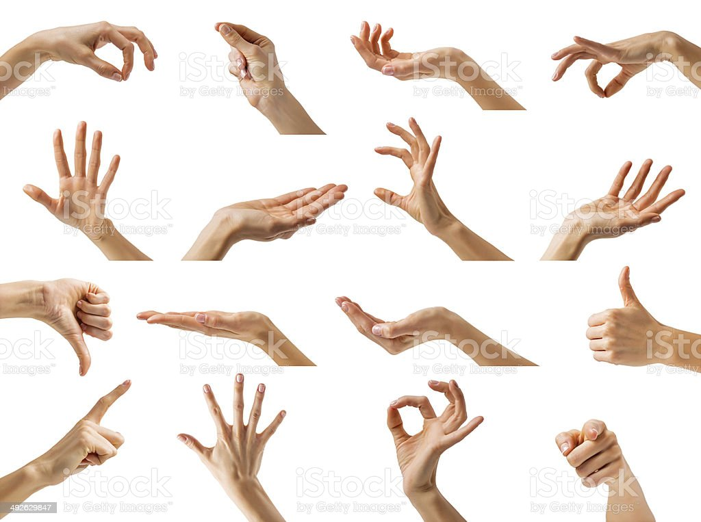 Different hand gestures stock photo