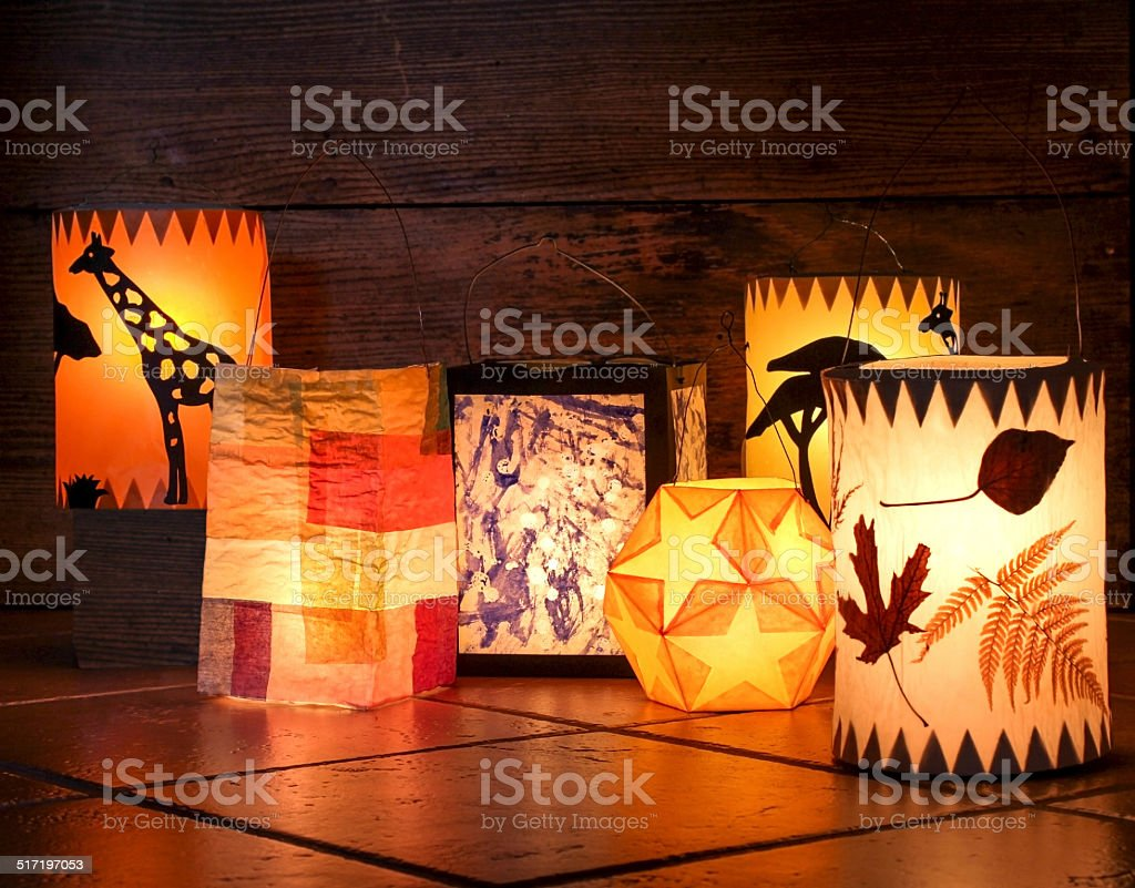 Different handmade lanterns stock photo