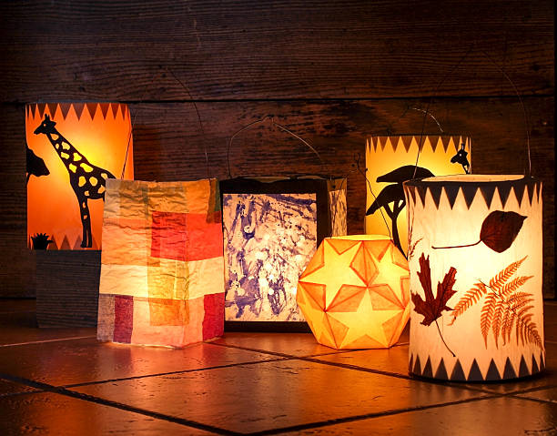 Different handmade lanterns Paper lanterns for Martinmas procession. lantern stock pictures, royalty-free photos & images