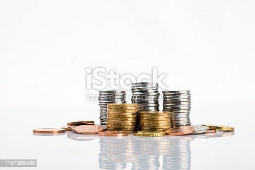 Coins piles.