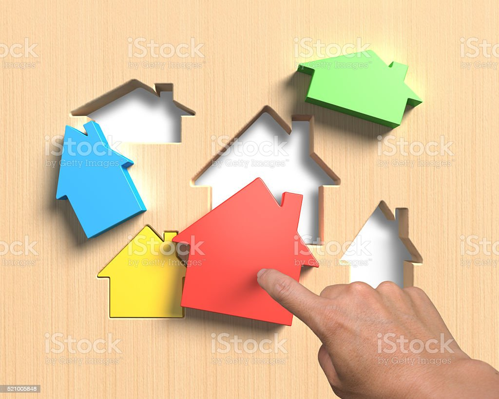 Verschiedene Häuser Anzug haus Form Tafel mit Hand assembli Löcher – Foto