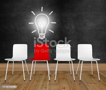 Different idea light bulb office chair blackboard