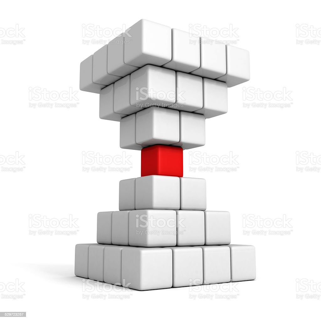 different individual leader red cube of pyramid group stock photo