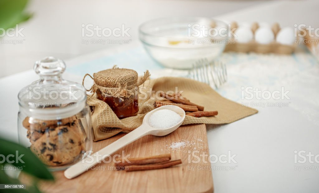 Different ingredients for sweet dessert preparation royalty-free stock photo