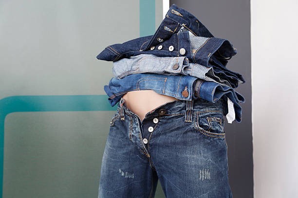 different jeans stock photo