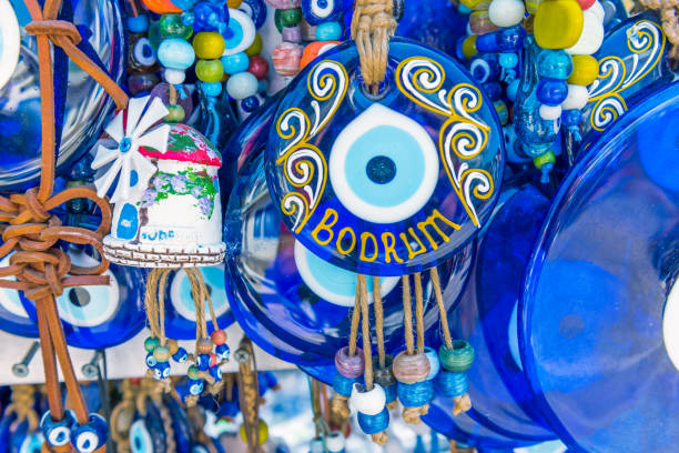Cтоковое фото Different kind of blue souvenirs about Bodrum town