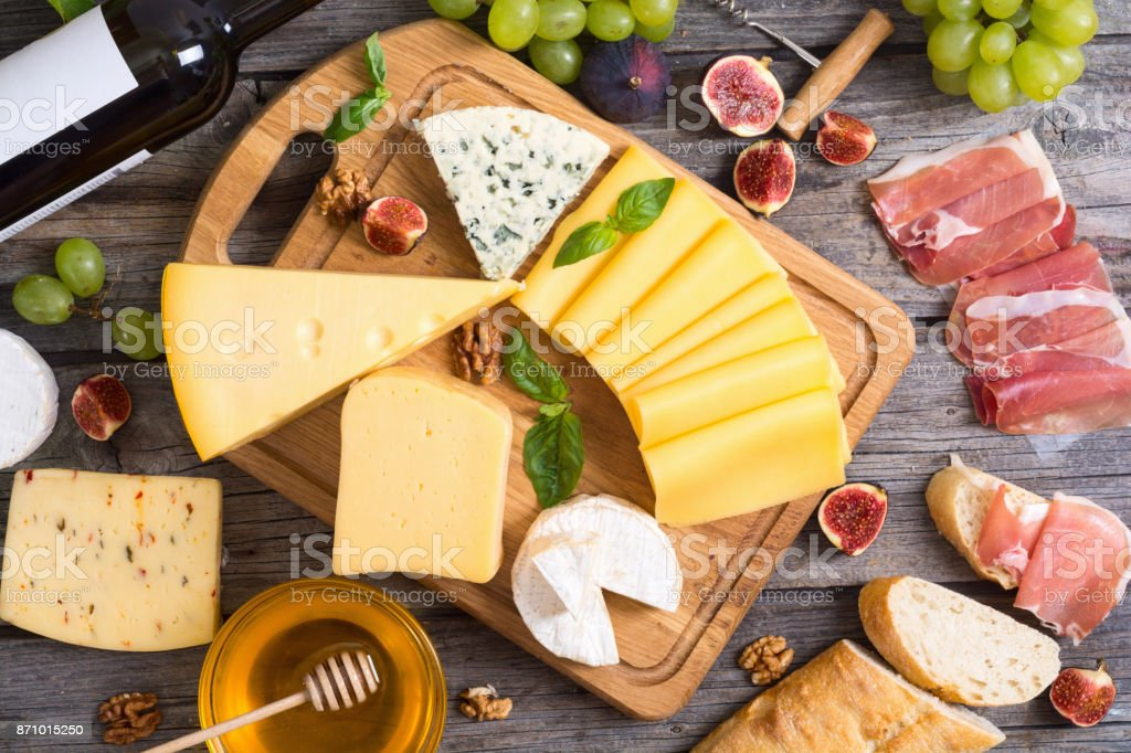 Different kind of cheese stock photo