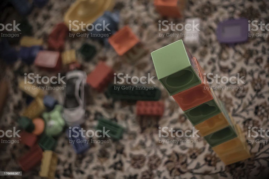 Different Kind of Toys on a Carpet at Home royalty-free stock photo