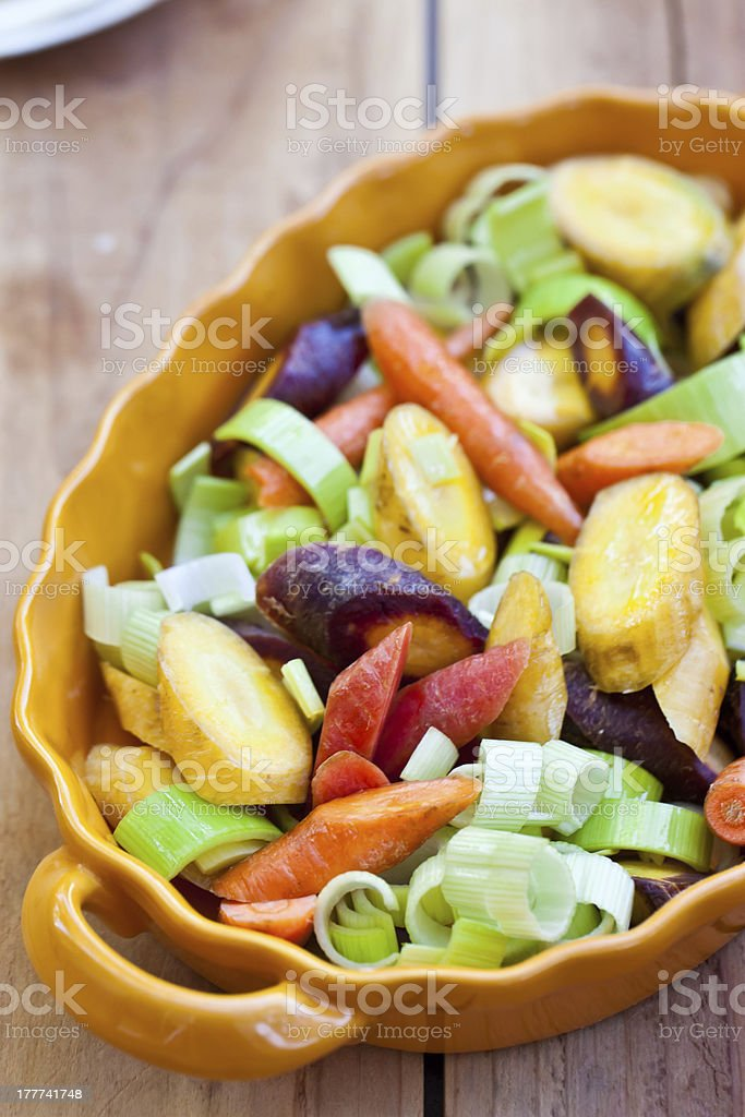 Different kinds of carrot and leek prepared for roasting. royalty-free stock photo