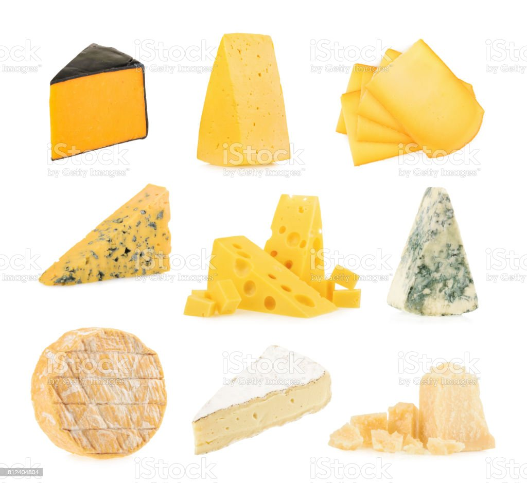 Different kinds of cheeses isolated on white background. stock photo