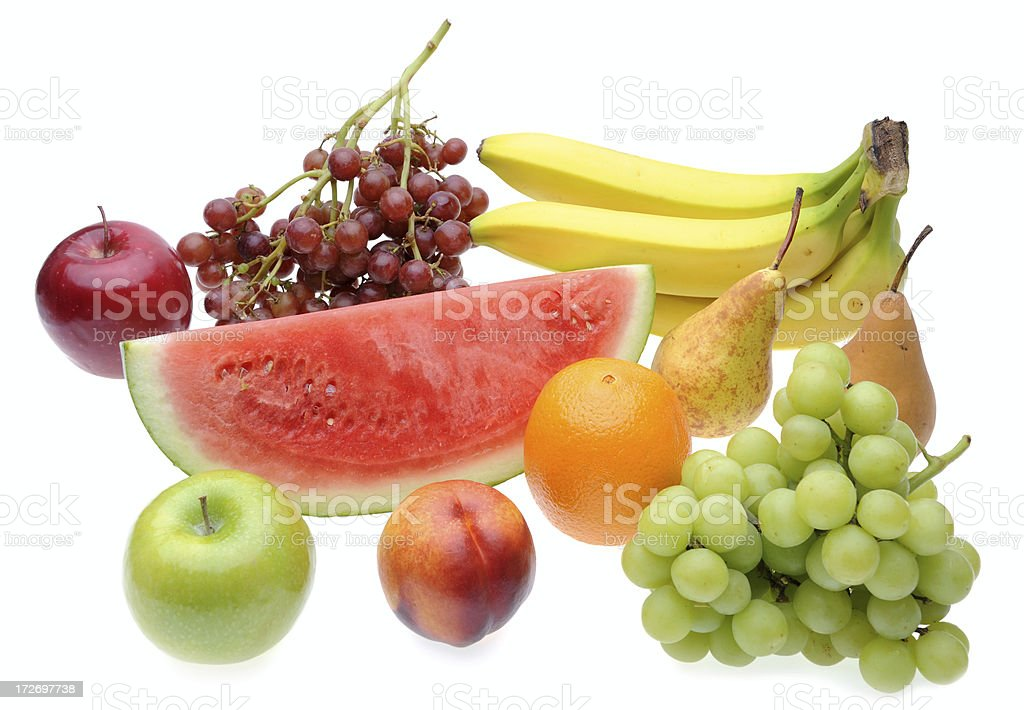 Different Kinds of Fruit Isolated Against White Background stock photo