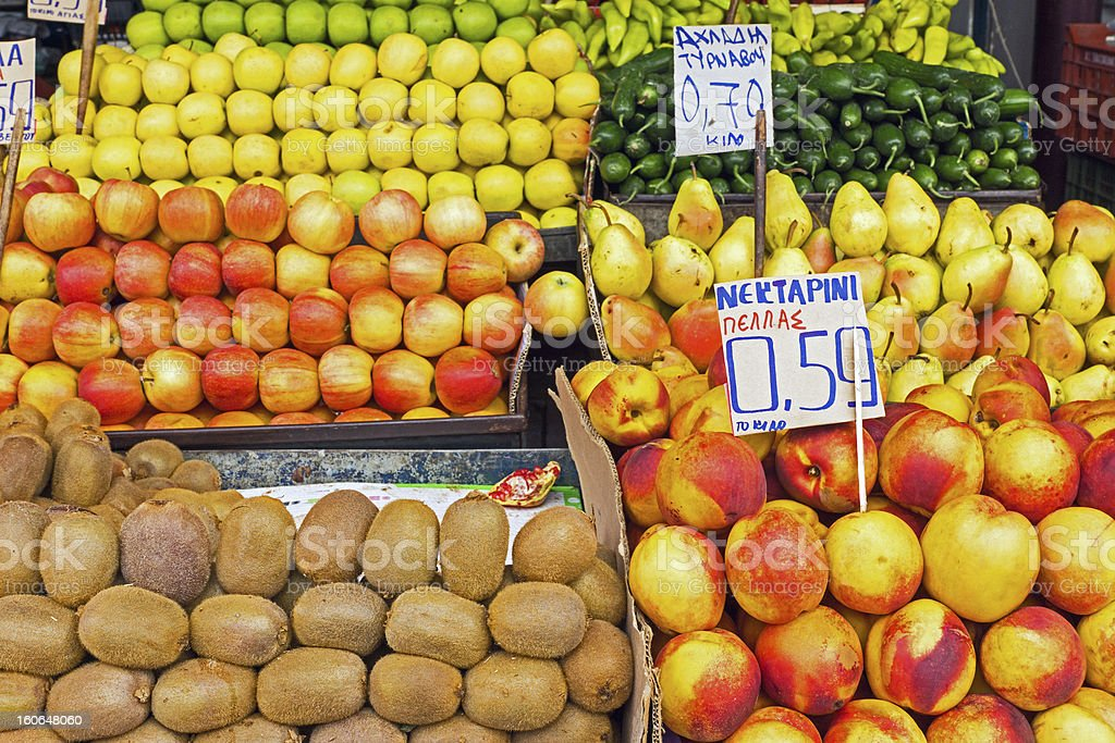 Different kinds of fruits for sale royalty-free stock photo