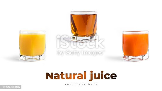Different kinds of juice isolated on a white background. High quality photo