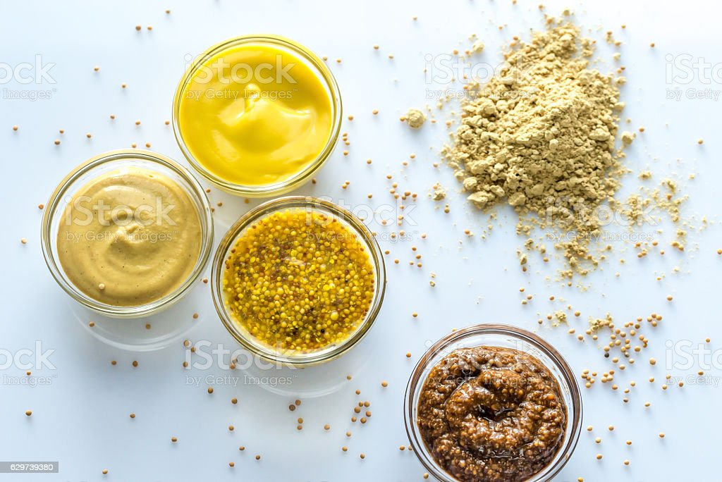 Different kinds of mustard stock photo