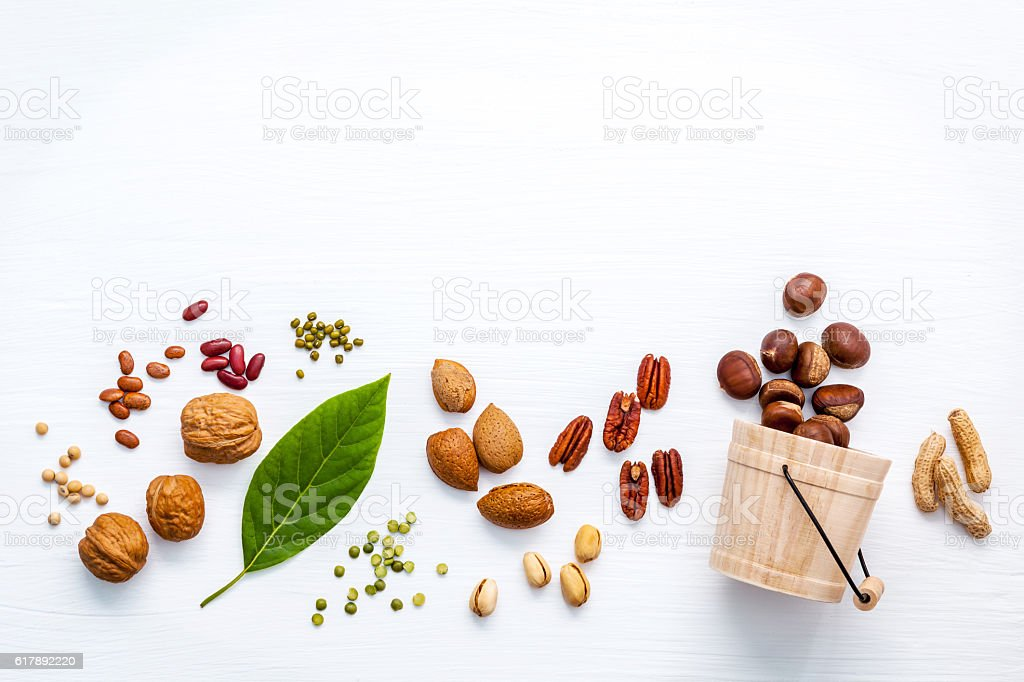 Different kinds of nuts . stock photo