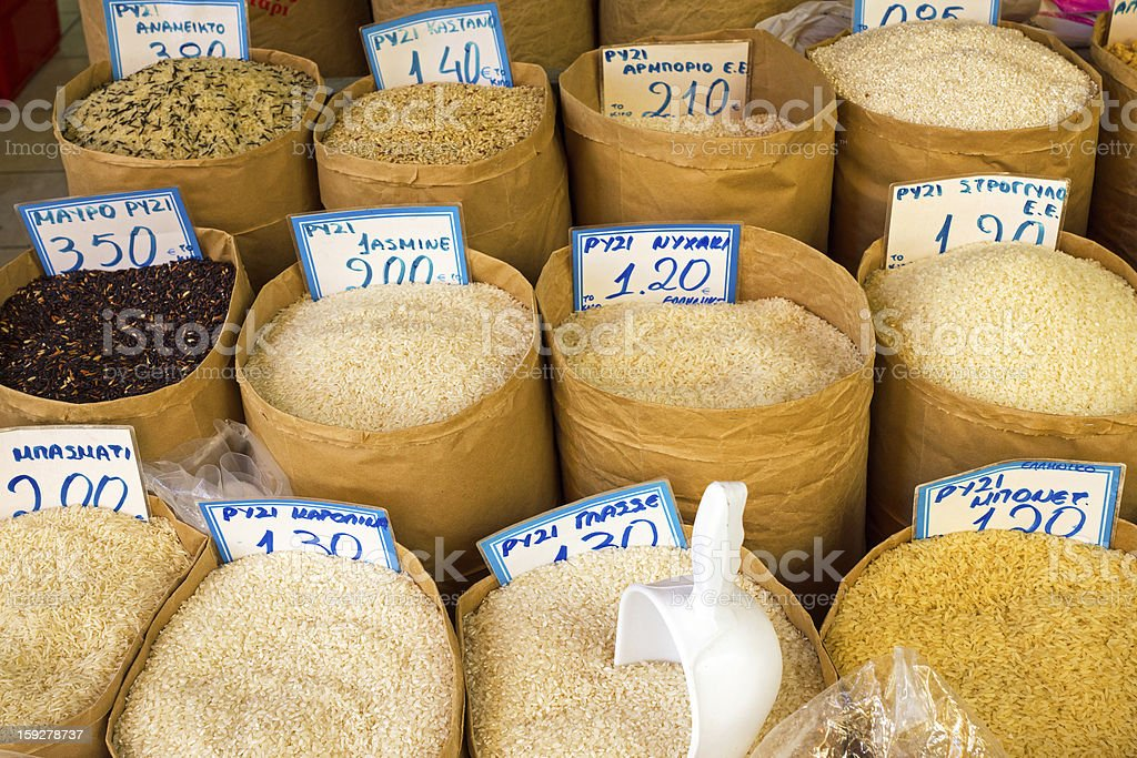 Different kinds of rice royalty-free stock photo