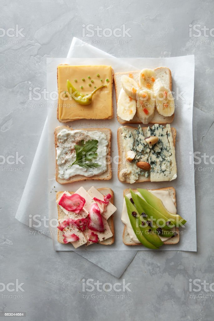 Different kinds of sandwiches stock photo