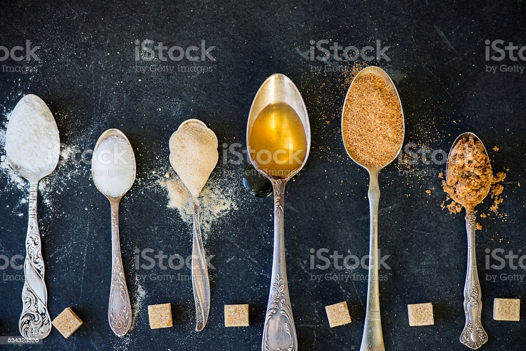 Different Kinds of Sugar in the Spoons royalty-free stock photo