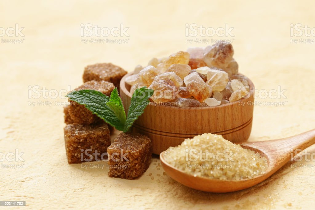 Different kinds of sugar on the table stock photo