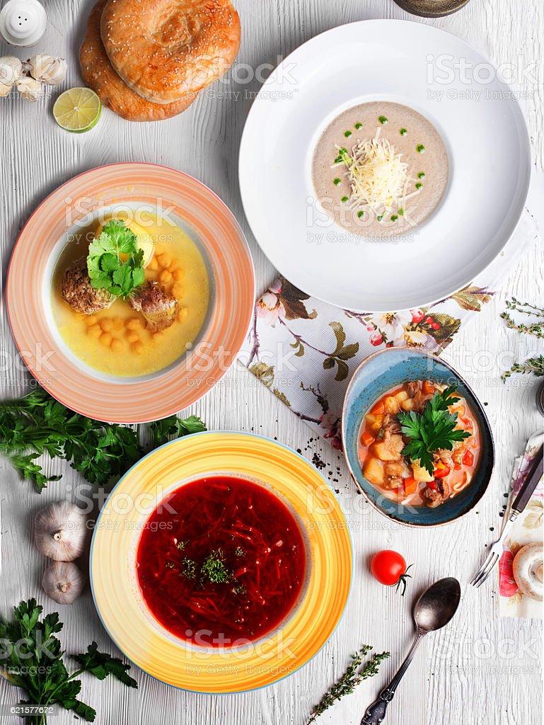 different kinds soups, many dishes, top view borscht photo libre de droits