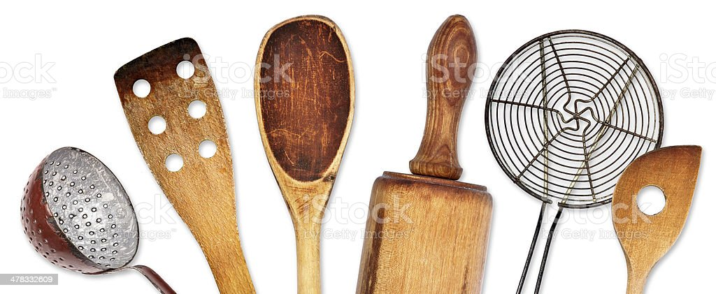 Different kitchen utensils for cooking stock photo