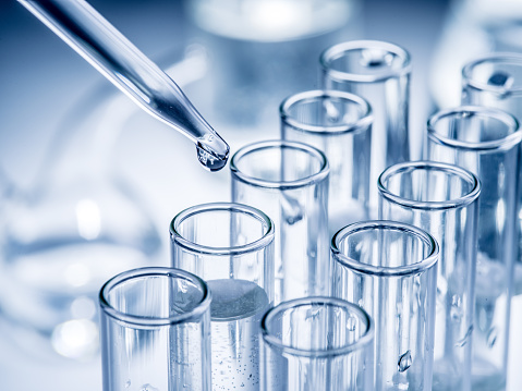 Different Laboratory Beakers And Glassware Stock Photo - Download Image Now