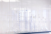 Different laboratory glassware. Test tubes and flasks