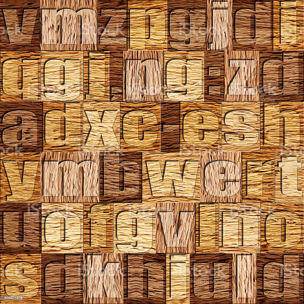 Different letters on background. Walnut wooden pattern stock photo