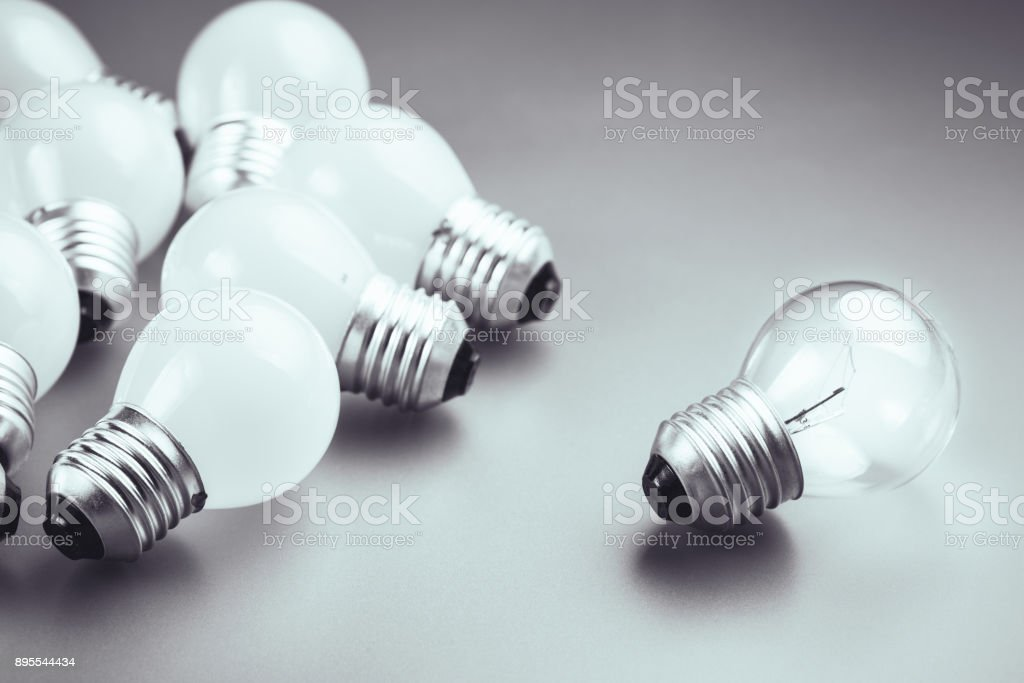 Different Light Bulb stock photo