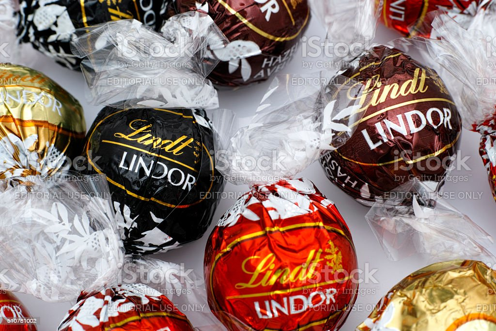 Different Lindt Lindor chocolate truffles stock photo