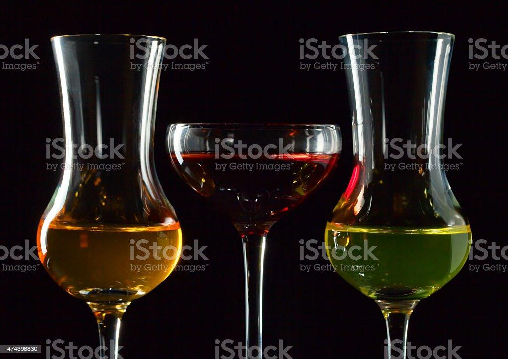 different liquors stock photo