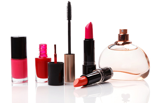Different make-up products  on white background