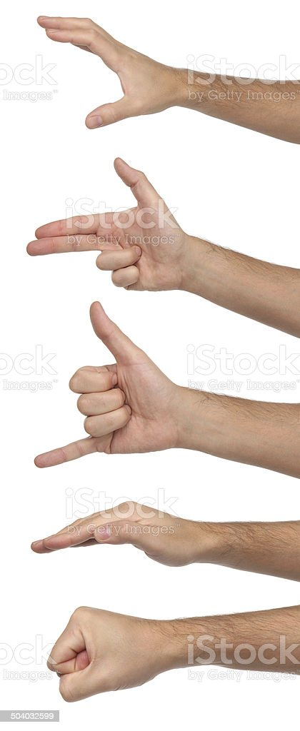 Different male hand signs. Isolated on white background stock photo