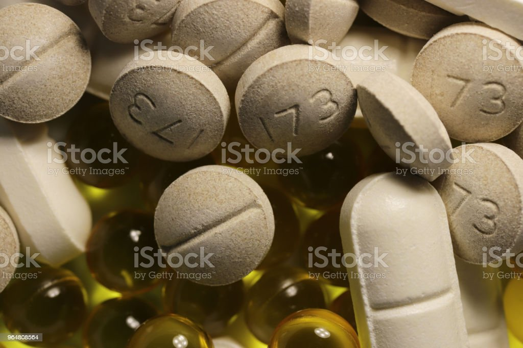 Different Medicine Tablets. Pharmacy Pills Background. Macro Closeup. royalty-free stock photo