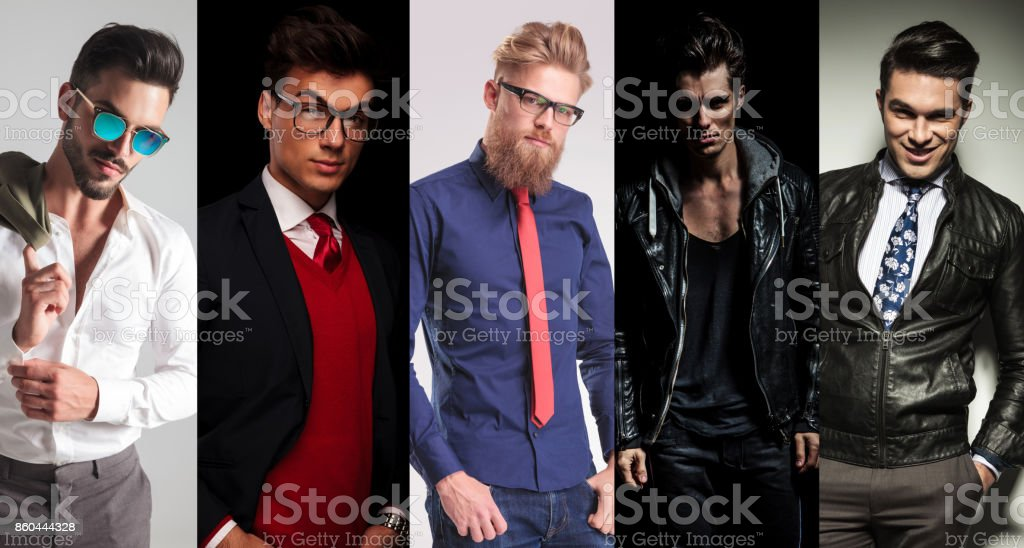 5 different men posing in studio royalty-free stock photo
