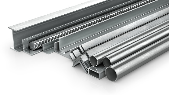 istock Different metal products. Metal profiles and tubes. 3d illustration 906641928